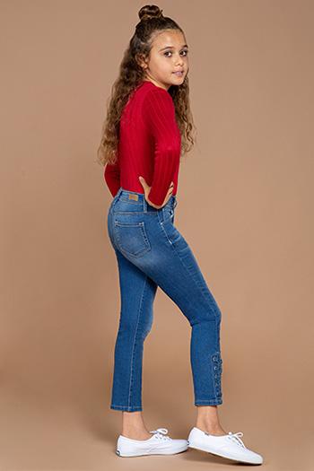 Kids Denim Ankle Jean with Side Slit Lace Up