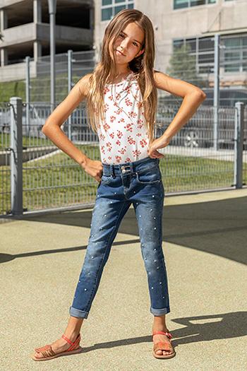 Kids 2-Button Pearl Stud Denim Skinny Jean with Rolled Cuffs