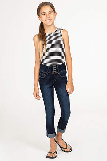 Kids Basic 3-Button Denim Skinny Jean with Rolled Cuffs