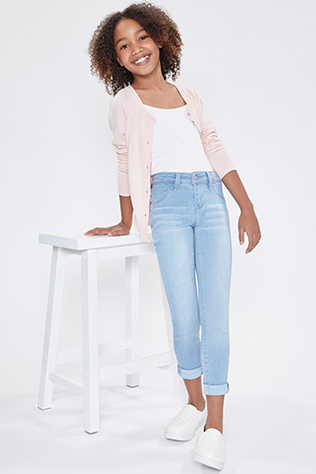 Girls Optional Cuff Denim Skinny Jean