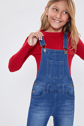 Girls Front Bib Skinny Overalls With Regular Hem