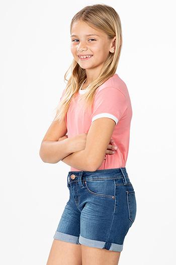 Girls Rolled Cuff Denim Shorts