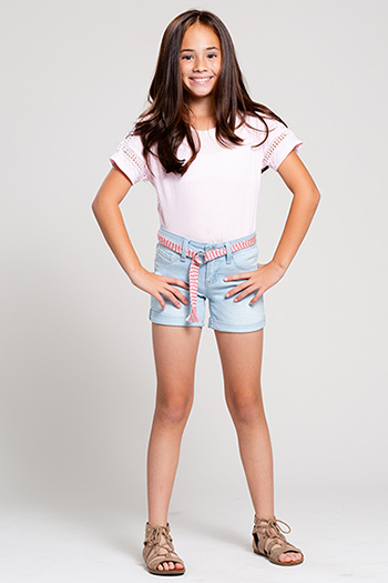 Kids Basic Cuffed Fray Hem Shorts with Belt