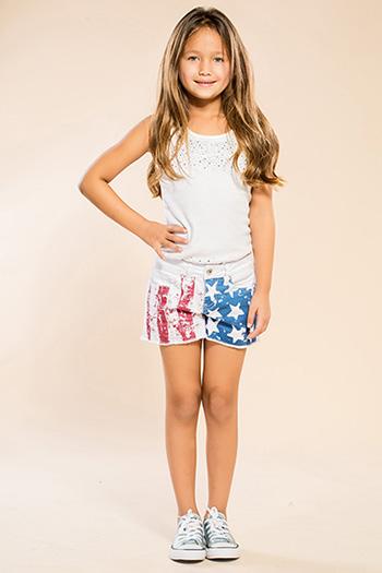 Kids Stars & Stripes Frayed Hem Shorts