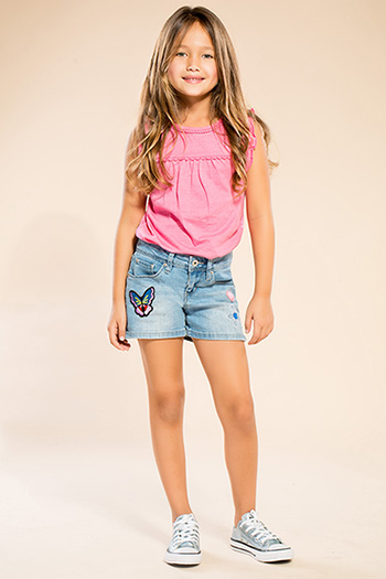 Kids Single-Button Shorts with Patches
