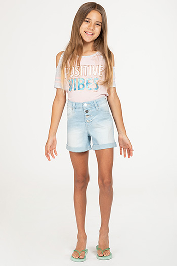 Kids Love Button-Fly High-Rise Cuffed Denim Shorts