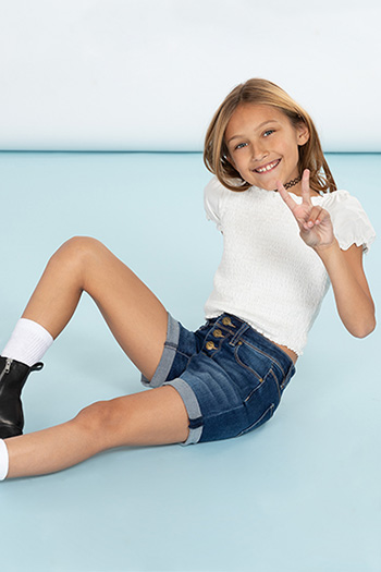 Girls Exposed Front Button High-Rise Shorts