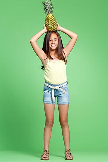 Kids Basic Cuffed Fray Hem Shorts with Belt