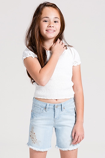 Kids Cut Out Embroidery Shorts with Fray Hem