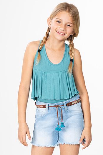 Girls Basic Frayed Hem Shorts with Belt