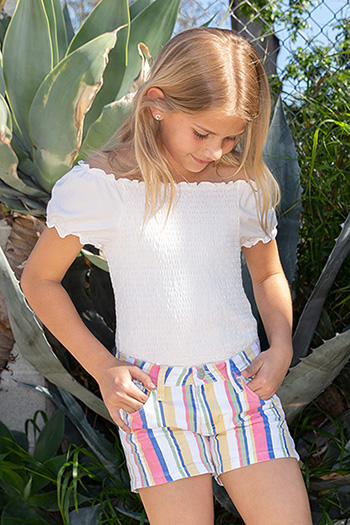 Girls Love Bright Stripe Shorts