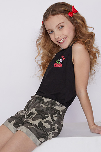 Girls Cuffed Pull-On Shorts with Faux Drawstring