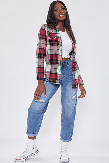 Junior Red And Black Long Sleeve Flannel