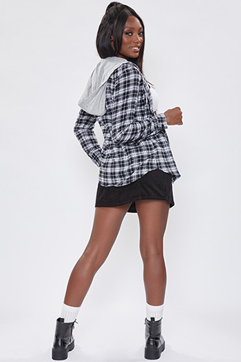 Junior Black And White Long Sleeve Flannel Hoodie