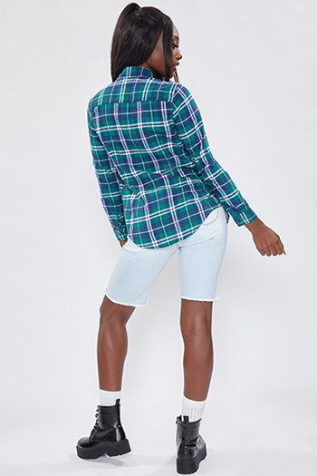 Junior Forest Green, Navy And White Long Sleeve Flannel
