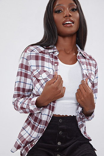 Junior Burgundy And White Long Sleeve Flannel