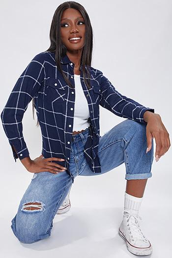Junior Navy Long Sleeve Flannel
