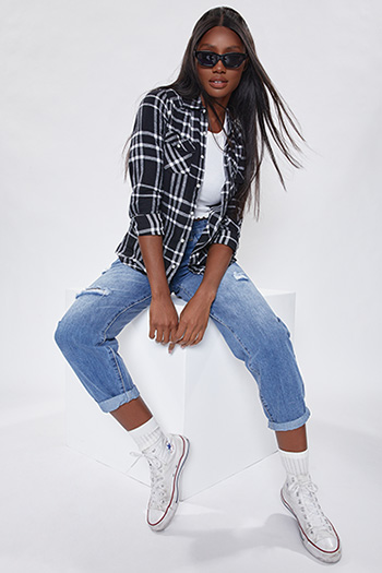 Junior Black And White Long Sleeve Flannel