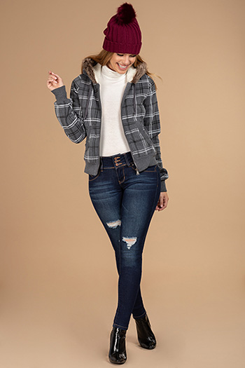 Cozy Plaid Hoodie With Faux Fur-Trimmed Hood