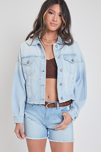 Junior Cropped Denim Jacket With Raw Hem