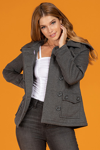 Closet Staple Junior Double-Breasted Jacket With Detachable Faux Fur-Trimmed Hood