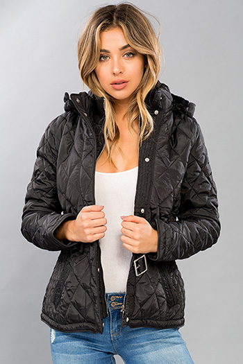 Junior Quilted Jacket with Belt and Detachable Hood