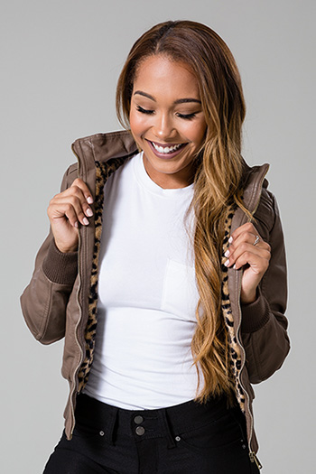 Junior Faux Leather Hooded Jacket with Fur Lining