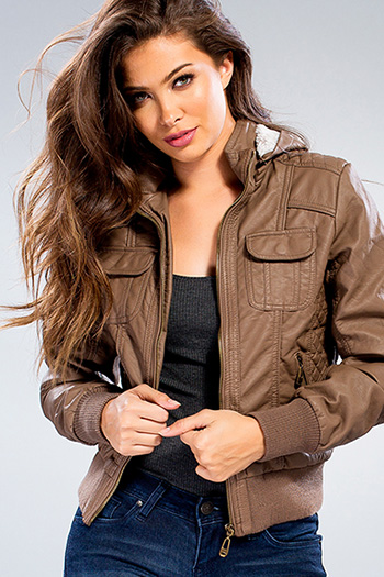 Junior Faux Leather Jacket with Detachable Hood