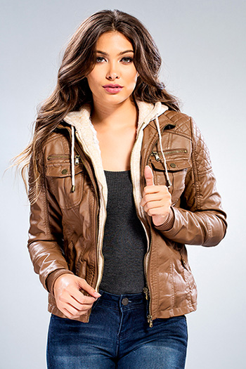 Junior Faux Leather Jacket with Detachable Sweater Insert