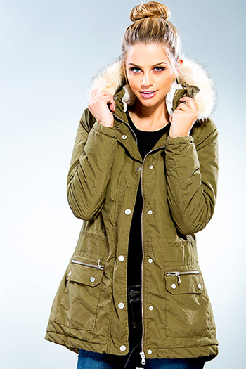 Junior Cotton Parka Jacket with Detachable Fur Trim Hood