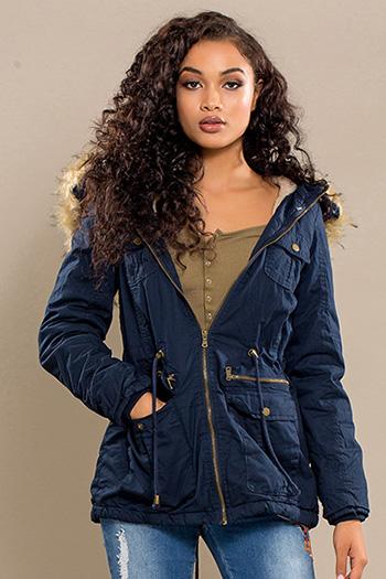 Junior Cotton Jacket with Fur Trim Hood