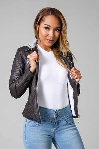 Junior Faux Leather Jacket with Detachable Sweater Hood