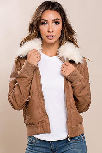 Junior Faux Leather Jacket with Fur Collar