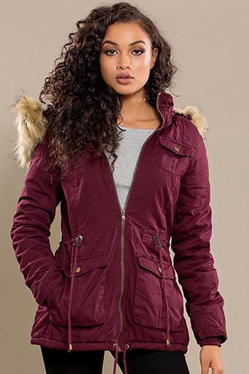 Junior Cotton Jacket with Detachable Fur Hood