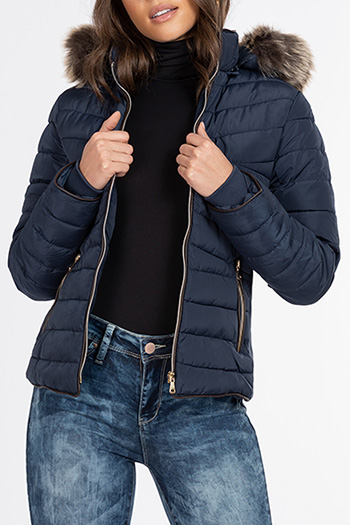 Junior Polyester Woven Jacket With Gold Hardwear