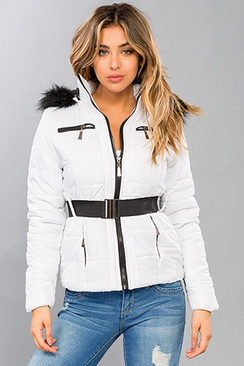 Junior Belted Puffer Jacket with Detachable Hood and Faux Fur Trim