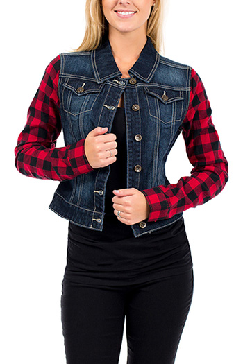 Junior Plaid Sleeve Denim Jacket