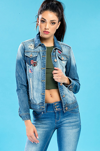 Junior Distressed Denim Jacket with Patches