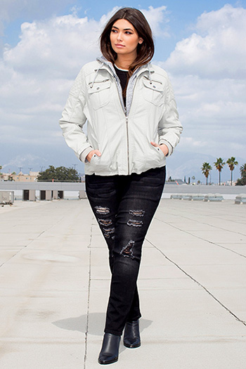 Junior Plus Size Faux Leather Jacket with Detachable Hood