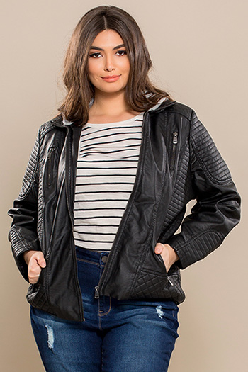 Junior Plus Size Faux Leather Jacket with Detachable Sweater Hood