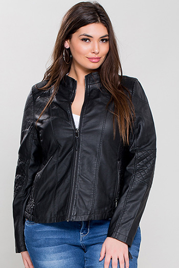 Junior Plus Faux Leather Jacket with Detachable Hood