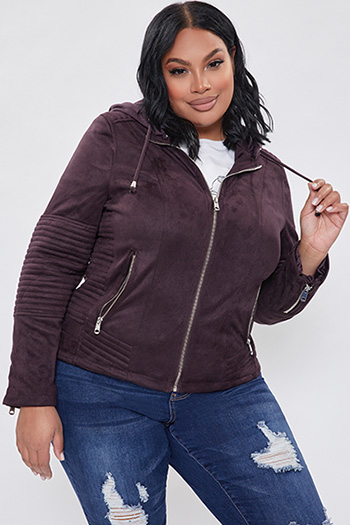 Junior Plus Size Faux Suede Jacket with Detachable Hoodie
