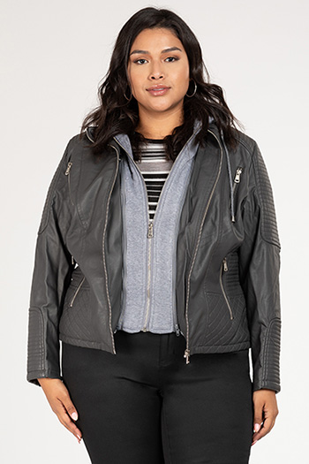 Junior Plus Size Faux Leather Jacket with Detachable Fleece Hoodie