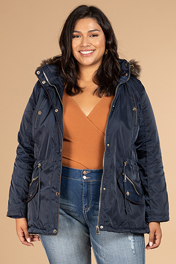 Junior Plus Size Jacket With Detachable Hoodie