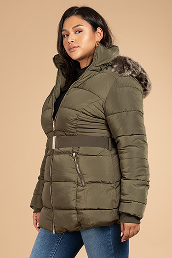 Junior Plus Long Puffer Jacket With Elastic Waist Belt