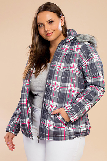 Junior Plus Plaid Puffer Jacket