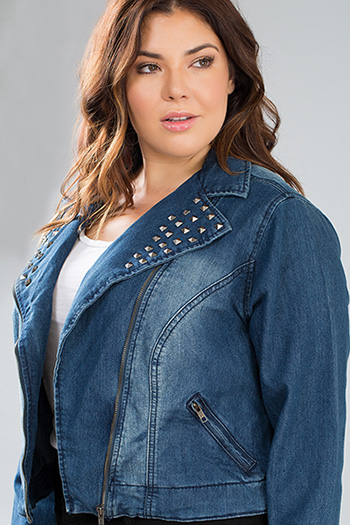 Junior Plus Moto Denim Jacket