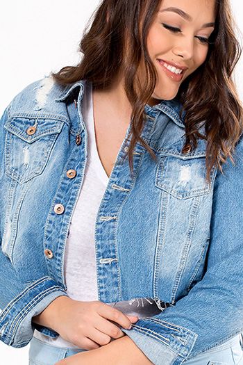 Junior Plus Size Cutoff Denim Jacket