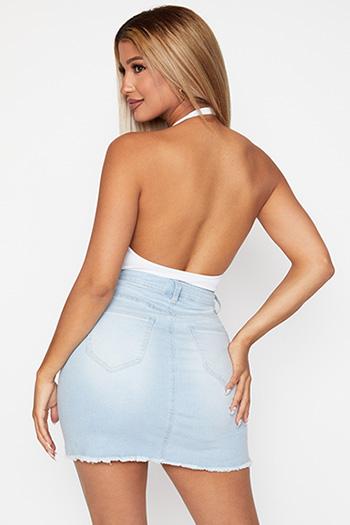 Junior Exposed Button Fray Hem Skirt