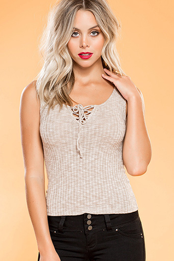 Junior Lace-Up Ribbed Tank Top